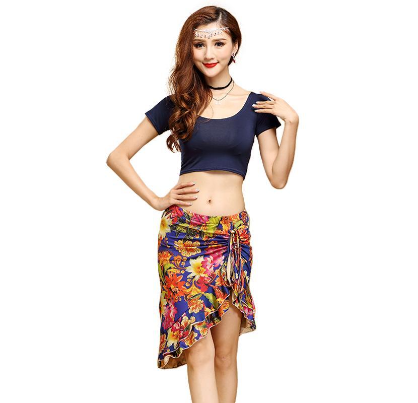 cd8b73005f2 Women Adult Belly Dance Practice Costumes Set Top+Skirt Bellydancing ...