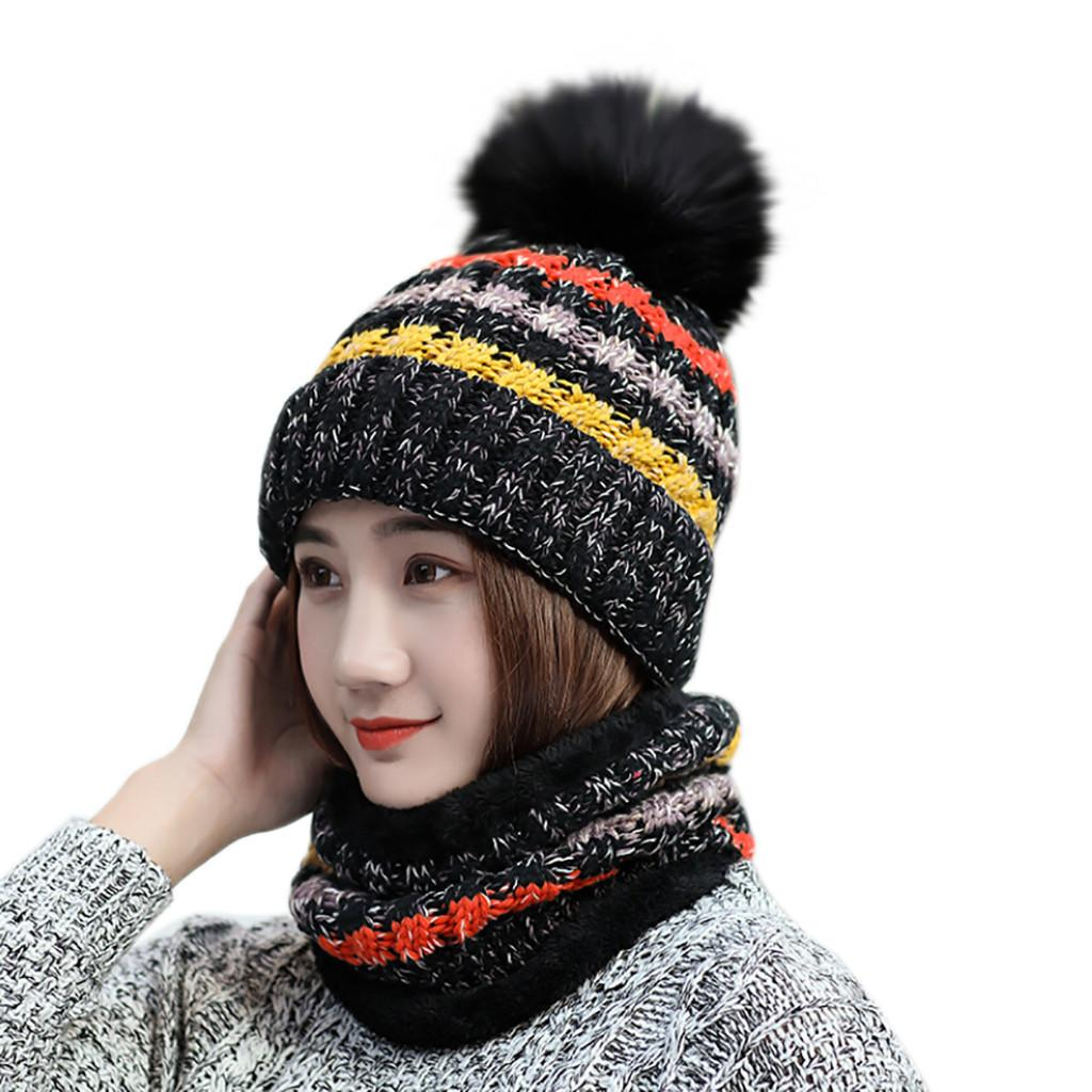 c379e8f50 2019 Fashion Hat 2Pcs Women Winter Warm Multicolor Knitted Venonat Beanie  Hat Scarf Keep Warm Set Hot sale