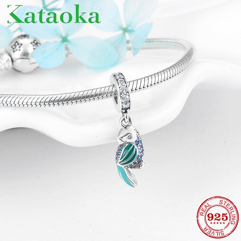 65824a824 Fashion Charms Smart Parrot Real 925 Sterling Silver Blue Green CZ Pendants  Fit Original Pandora DIY Bracelet Necklace Jewelry Online with $28.82/Piece  on ...