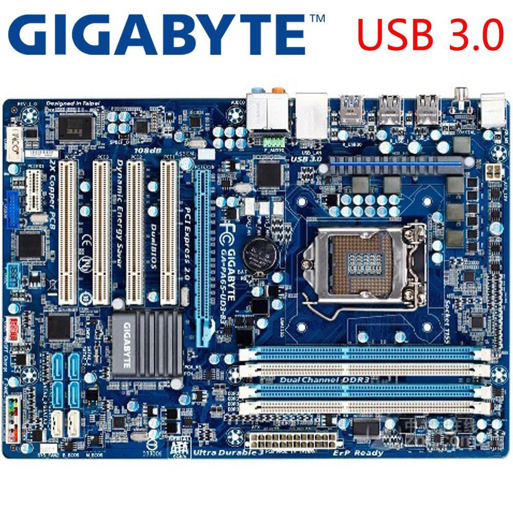 GIGABYTE GA-PA65-UD3-B3 Desktop Motherboard H61 Socket LGA 1155 i3 i5 i7  DDR3 16G ATX Original GA-PA65-UD3-B3 Used Mainboard