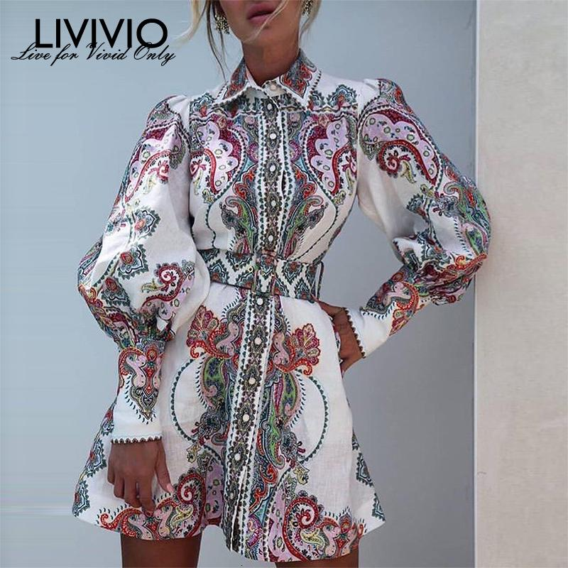[LIVIVIO] Vintage Floral Print Lantern Long Sleeve Mini Dresses Female Match Belt Waisted 2019 Autumn Clothes for Women Fashion LY191114