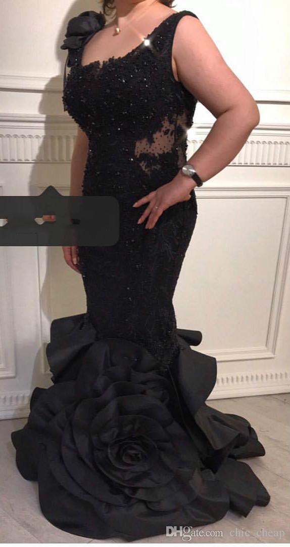 Black Sexy Lace Beaded 2019 Dubai Dubai vestidos de noche Scoop Mermaid Satin Vestidos de fiesta de lujo Fiesta formal Dama de honor Vestidos del desfile