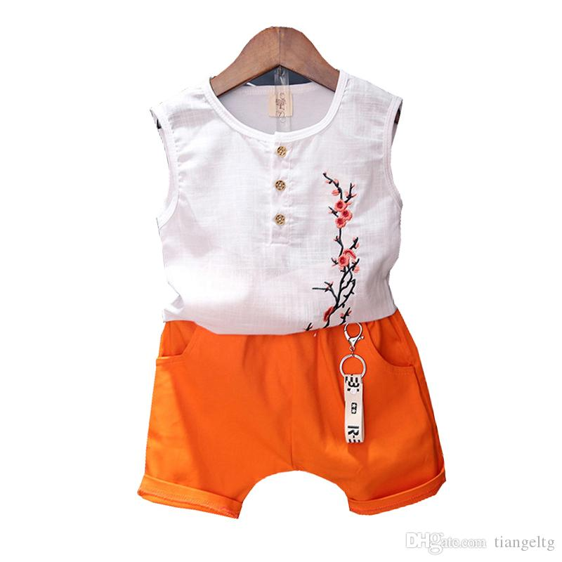 Kids Clothing Sets Kids Designer Clothes Sleeveless Round Neck Button Decoration Plum Embroidery Tops Two-Piece Suit Pocket Solid Pants