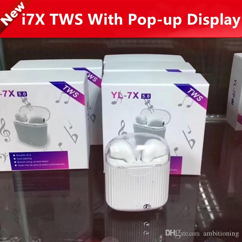 updated version i7 TWS Bluetooth 5 0 Pop-up window version has animation  Wireless bluetooth earphone for iphone Double ear with charging box
