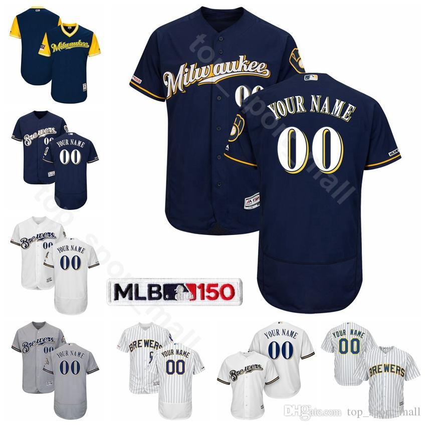 new concept c21b9 4161e Milwaukee Baseball Brewers 19 Robin Yount Jersey 4 Paul Molitor 8 Ryan  Braun 34 Rollie Fingers 44 Hank Aaron Cecil Cooper Custom Name