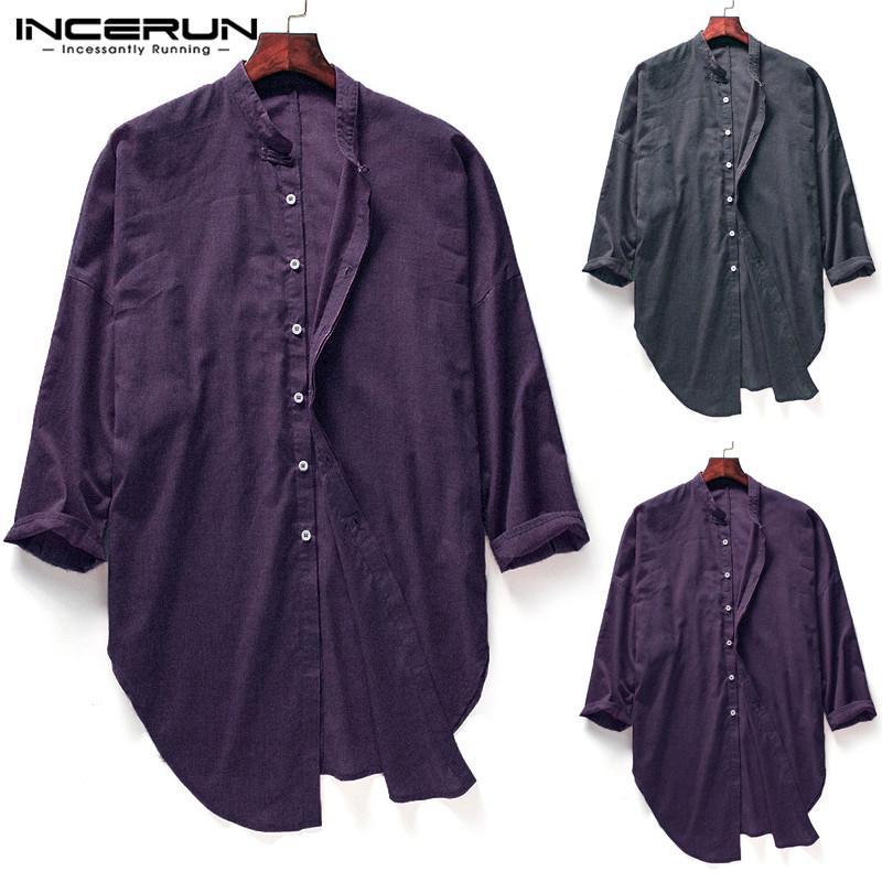 1cc1f7d90d2 Compre Moda Camisa Masculina Trajes Kurta Llanura Casual Camisas Largas  Hombres Camisas Vestido De Manga Larga Cuello Redondo Slim Fit Split Hem  Hombre A ...