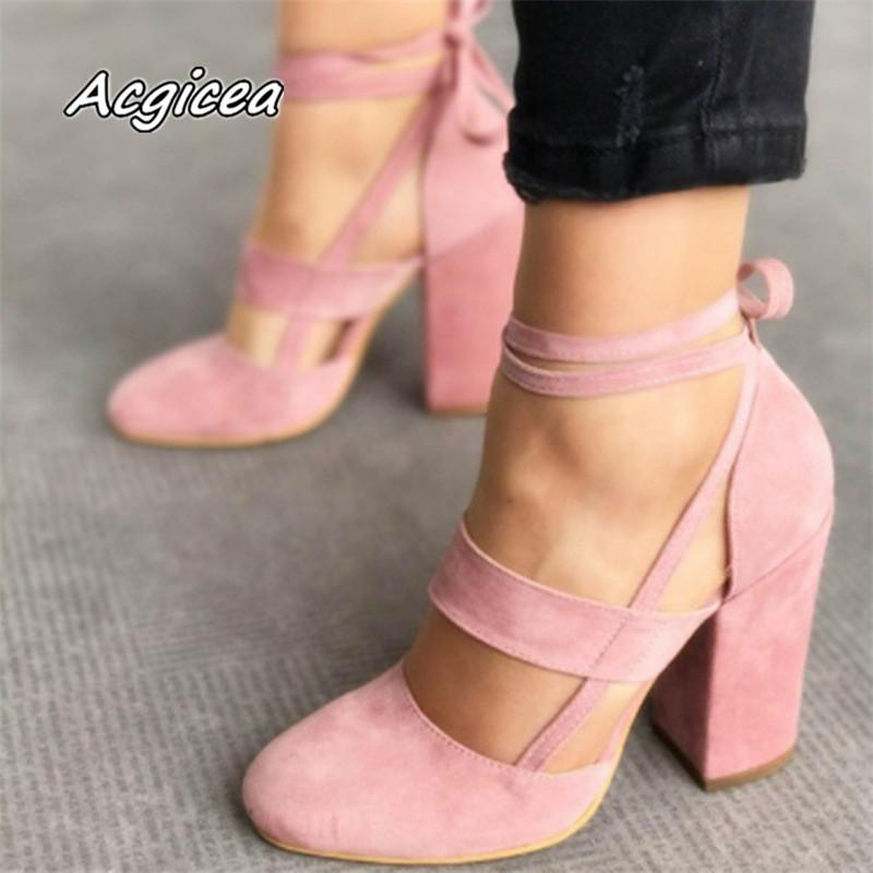 0e8f431674e Plus Size Female Ankle Strap High Heels Flock Gladiator Shoes Lace Up Thick  Heel Fashion Hollow Women Party Wedding Pumps F042 Mens Dress Boots Men  Sandals ...