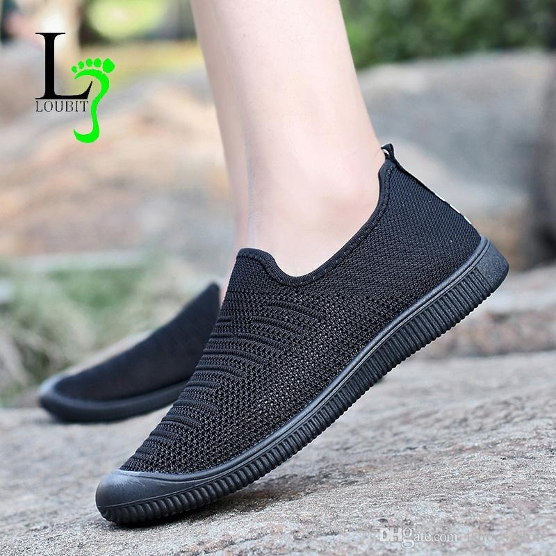 ac1aa001f Compre Homens Sapatilhas De Verão Sapatos Casuais Homens Tenis Masculino  Adulto Deslizamento Em Apartamentos Calçados 2019 Sapatos Respirável Malha  Moda ...