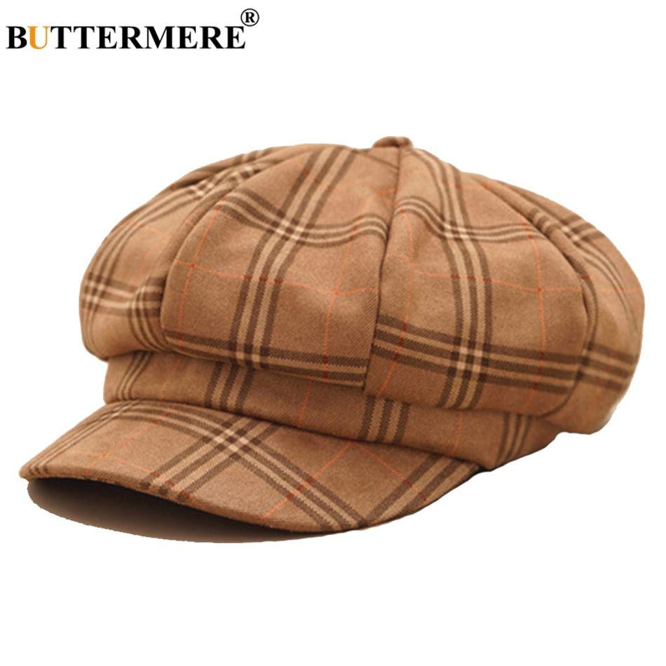 3a78736cd BUTTERMERE Cotton Newsboy Cap Women Plaid Khaki Octagonal Hat Ladies  Vintage Ivy Cap Female British Baker Boy Autumn Winter
