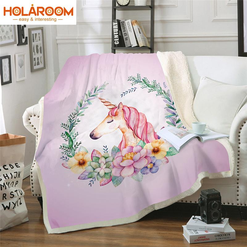 5c78914bdc8 Cartoon Unicorn Pattern Bedspread blanket Super Soft Blanket for Sofa  Winter Keep Warm Thickened double-layer 150x200cm