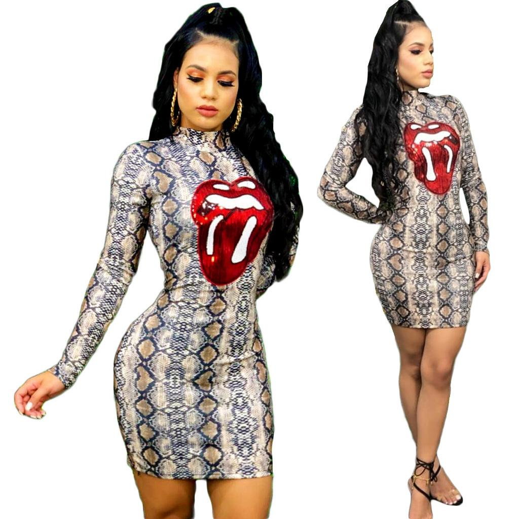 41d3e3d1728d0 3674 Cross-border 2019 ladies new European and American women s snake print  large lip embroidered dress night shop skirt