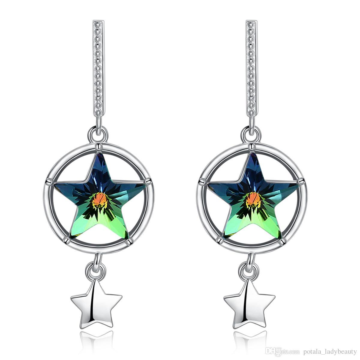 5530600100f3 Compre Estrella Pendientes Plug In Cristal De Swarovski Elements Circle  Hollowing Shinning Dangle Araña Pendiente Joyería Del Partido Regalos  POTALA35B A ...
