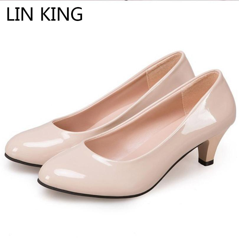 c8286c69002 Dress Shoes Lin King Casual Women Pumps Slip On Lazy High Heel Office Work  Solid Patent Leather Round Toe Pumps For Mother Big Size 42 Cheap Shoes For  Men ...