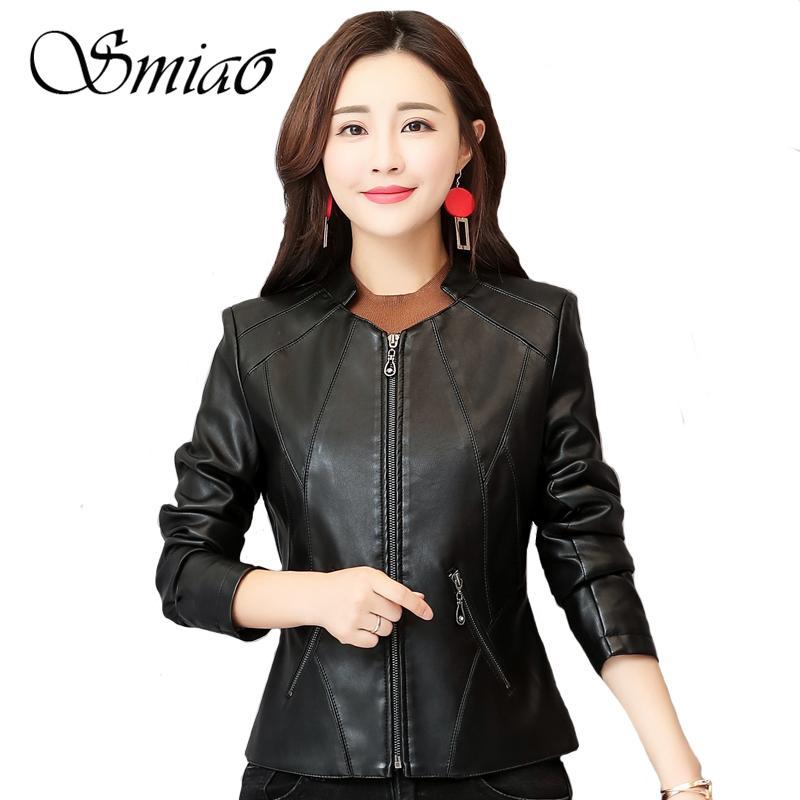 7c254f25594 2019 2019 Spring Faux Leather Jackets Women Plus Size 4XL Black Short Women S  Leather Jacket Slim Motorcycle Biker Outerwear Coats From Gavinuni