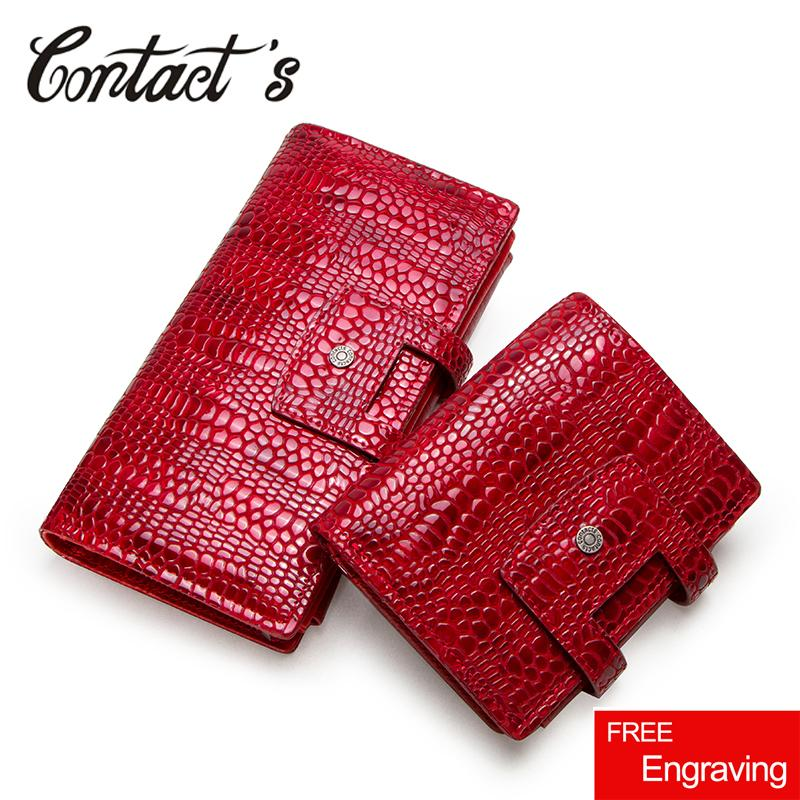 760646b50e25 Contact's Genuine Leather Women Wallet Zipper Coin Purse Long Walet Cell  Phone Bag Card Holder Ladies Clutch Brand Designer