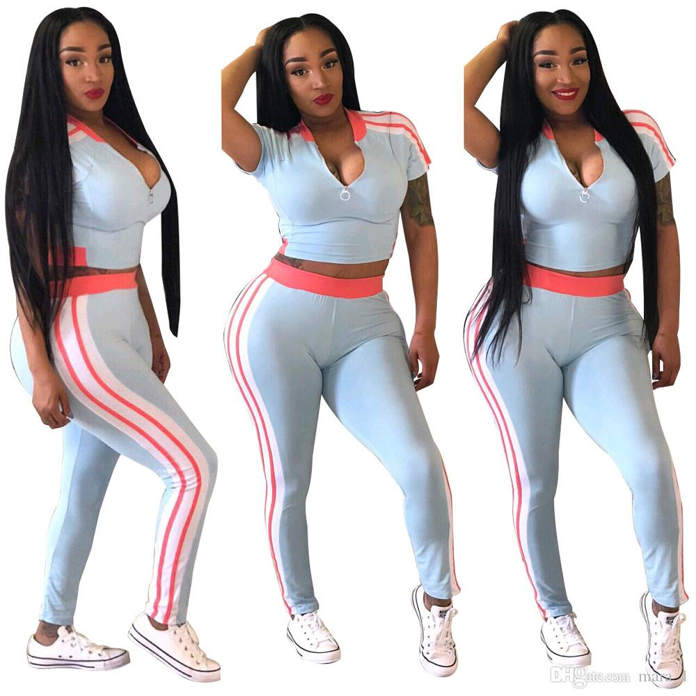 5e05ab4ea800 2019 Women Crop Top Set Outfits Short Sleeve T Shirt Leggings Sportswear  Striped Tee Top Pants Tracksuit Lady Spring Summer Clothes DHL From Mara 1