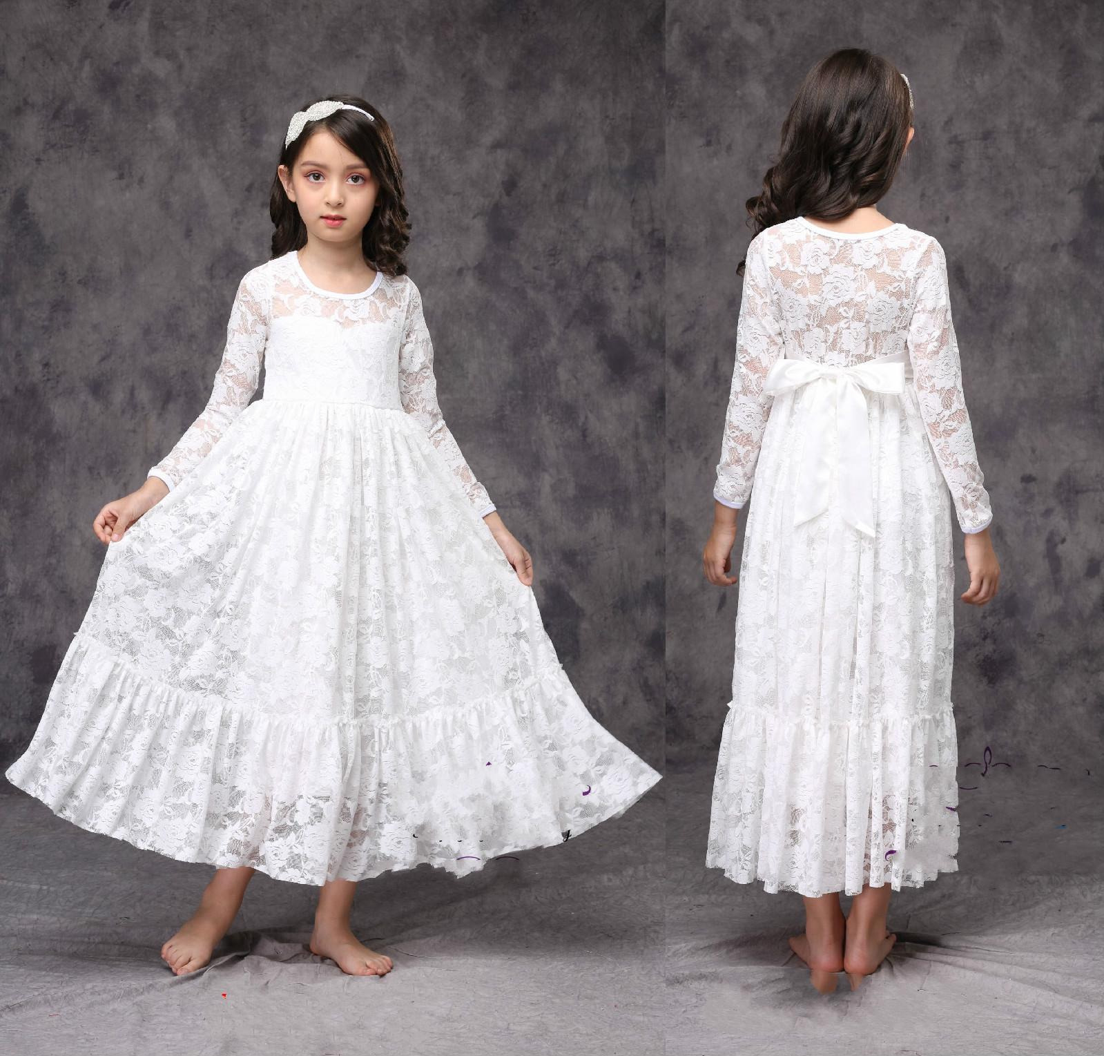 830710399e0 White Ivory Flower Girl Dress Little Baby Lace Dress First Communion Dress  Bridesmaid Wedding Party Long Sleeve Custom Size Flower Girl Dresses  Ireland ...