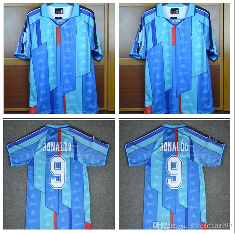 info for 4c2bb 80775 96 97 Ronaldo Home away blue Jersey Retro Soccer jersey 1996 1997 Ronaldo  Classic Football Shirt Calcio MAGLIA Maillot Camisa
