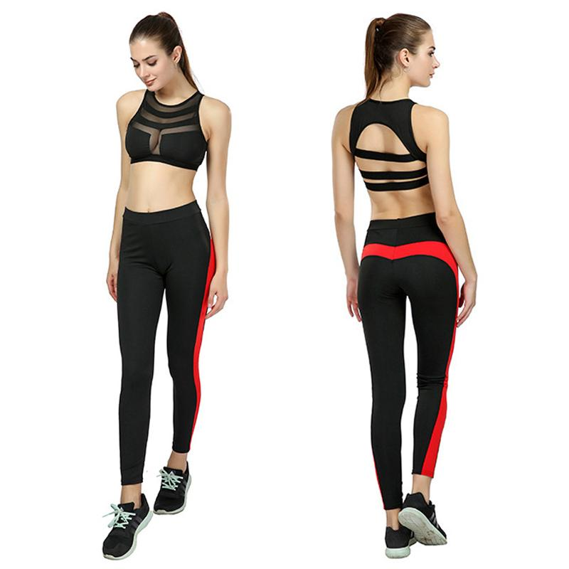 f9b55b3c4a 2019 New Yoga Set Women Sport Suit Sexy Bra Pants Stitching Sports Leggings  Running Jogging Sportswear Fitness Clothing