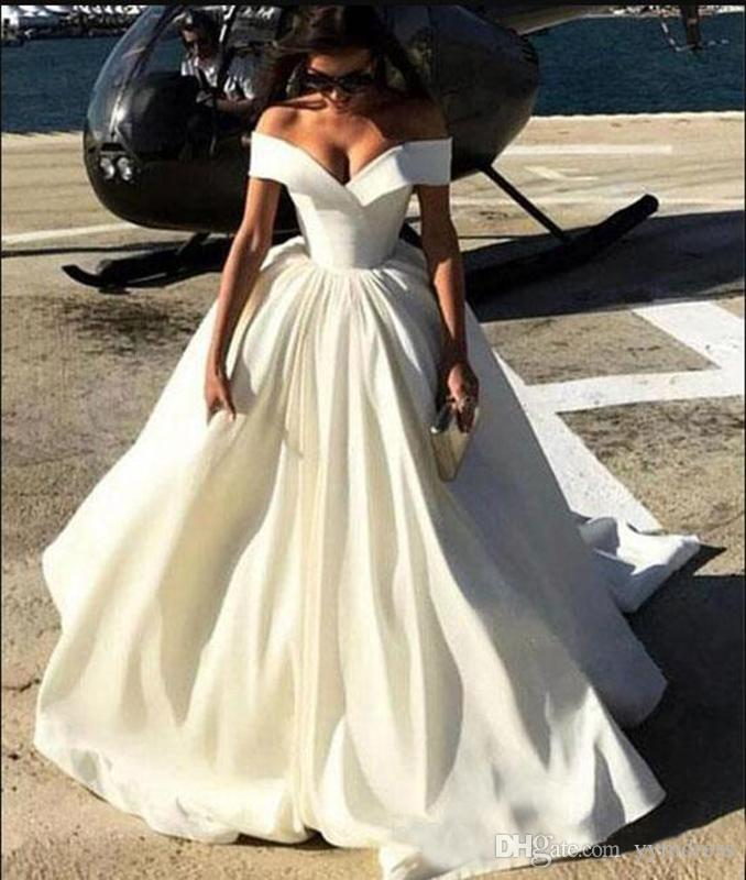 2019New Fashion Simple Cheap Wedding Dresses Off The Shoulder Capped Sleeves Satin Sweep Train A Line Wedding Gowns Sexy Bridal Gowns