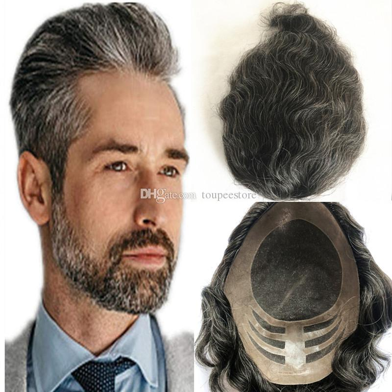Grey Hair Human Hair Mens Toupee Breathable Lace With Pu Toupee For