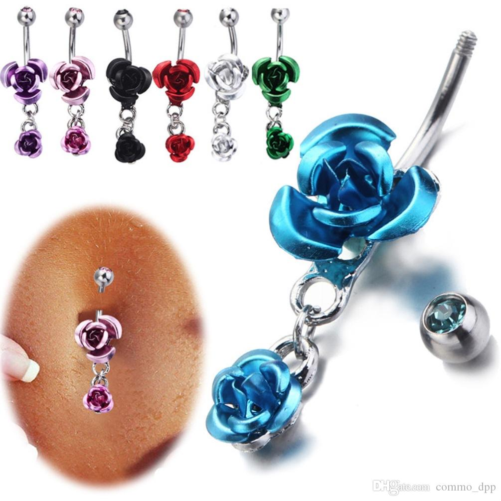 Stainless Steel Hypoallergenic Belly Button Rings Crystal Rose Flower Body Piercing Bar Jewlery For Women Bikini Fashion Navel Rings