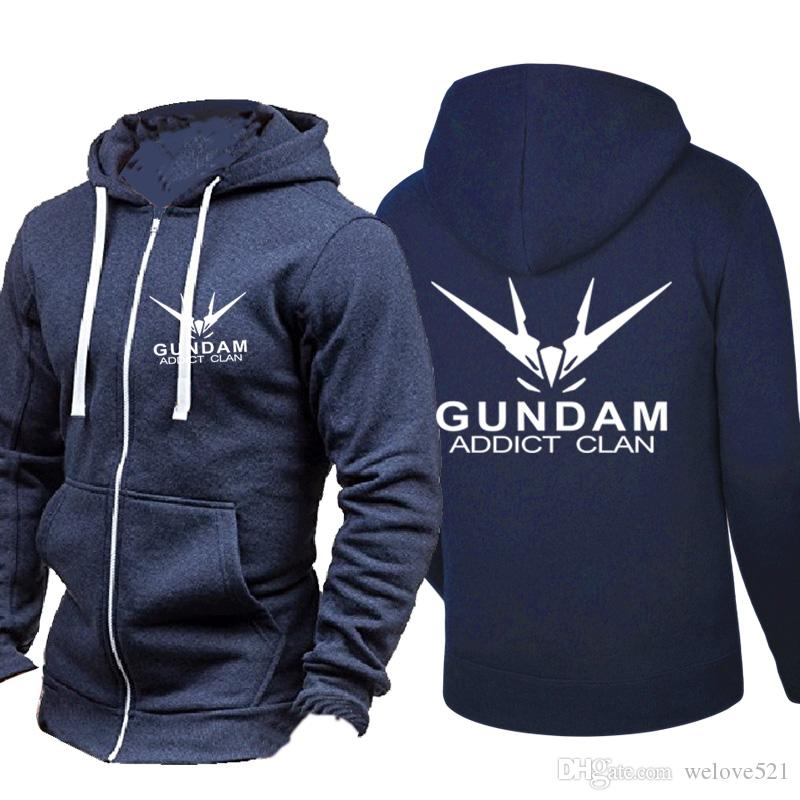e314bf17 2019 Gundam Addict Clan Cartoon Hooded Cardigan For Men Zipper Comfy Spring  Autumn Hoodies Long Sleeve Sweatshirts Male Jackets Tracksuit Casual From  ...