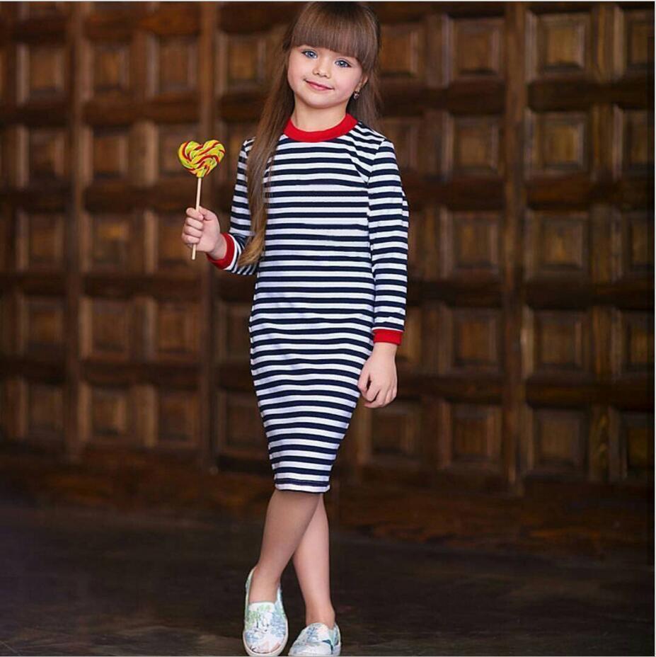 8290d499bff0 2019 Girl Dress Autumn 2019 Long Sleeve Black   White Stripes Girls ...