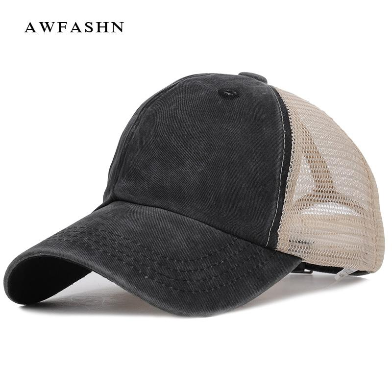 a2cfabbc 2019 Fashion Retro Summer Mesh Baseball Cap Spring Snapback Women Men  Washed Cotton Adjustable Hat Trucker Vintage Sport Shades Cool Hats Lids  Hats From ...