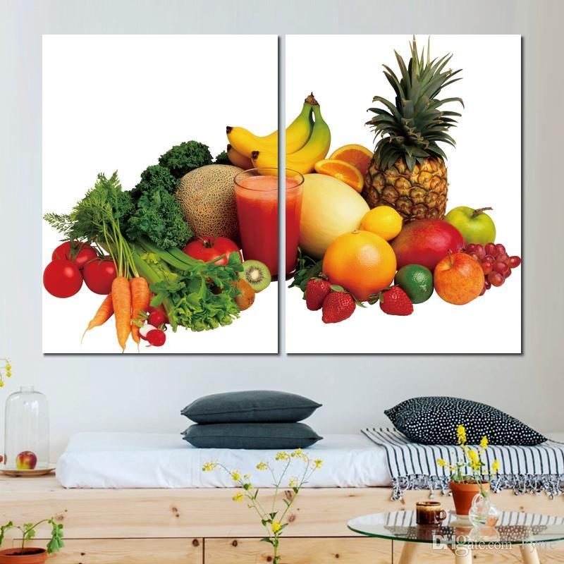 vegetables fruit juice variety canvas print arts pictures for dining room decor