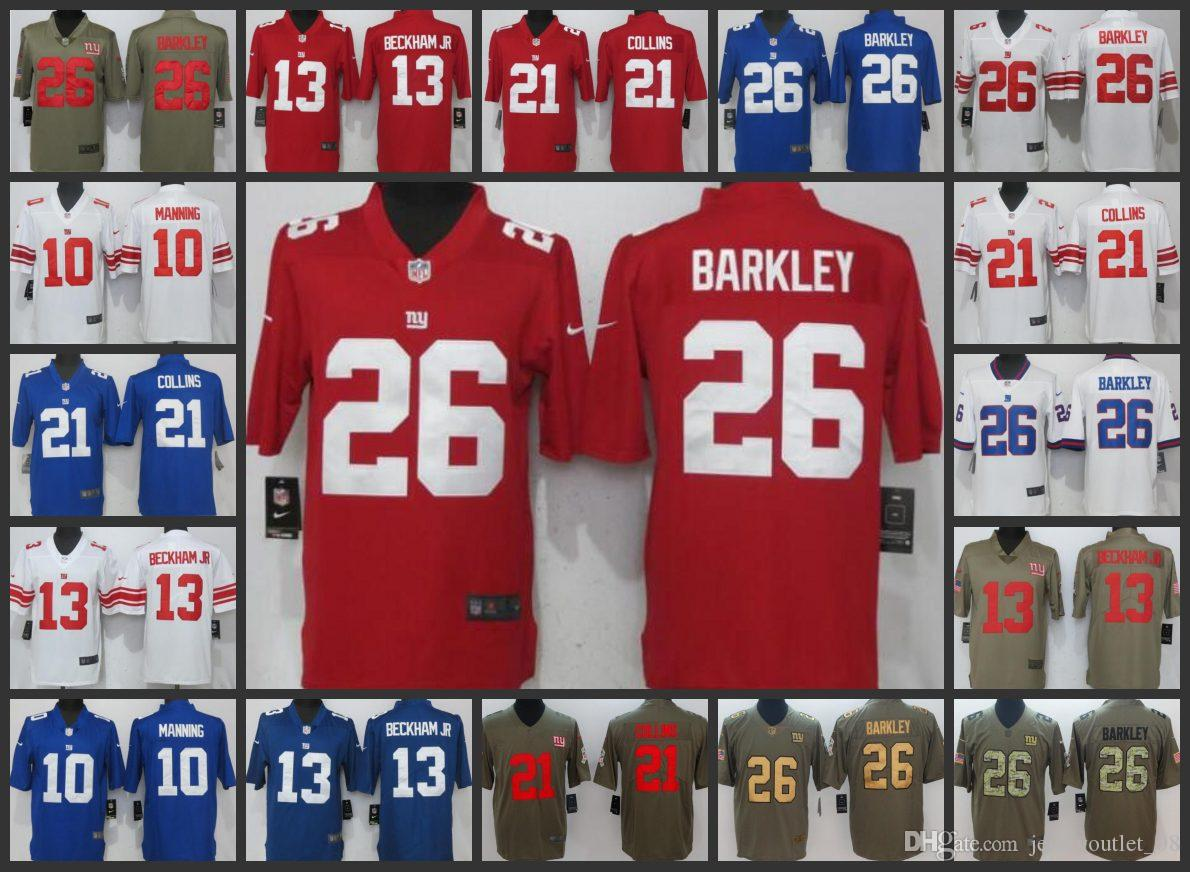 c7987fe7a New York Men Giants Jersey  10 Eli Manning 13 Odell Beckham 26 Saquon  Barkley 21 Landon Collins Women Youth Limited Jerseys Slim Fit Suits For  Men Suits For ...