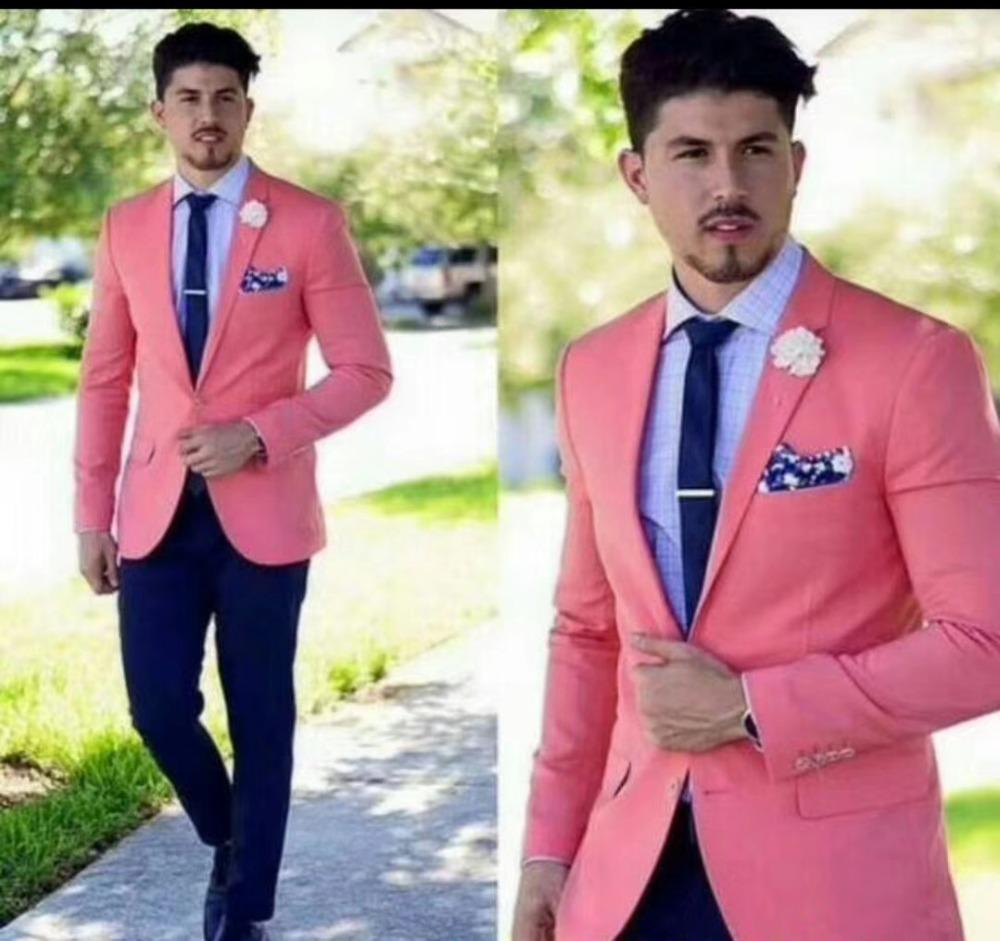 New slim fit costume homme mariage pink suit men Men Suit with pants wedding suits for Blazer Prom 2 piece terno masculino