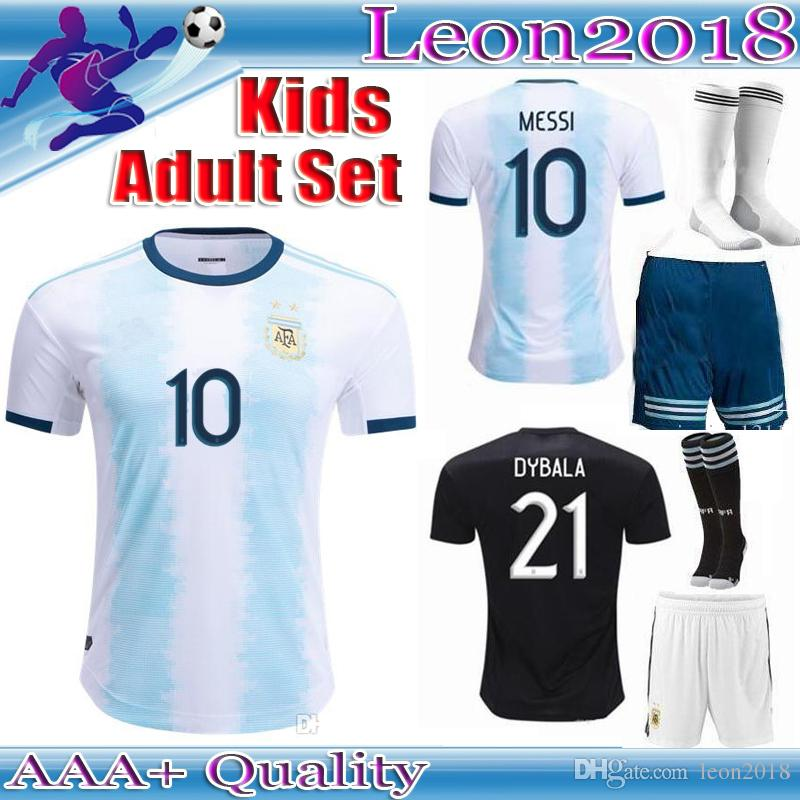 85b46a7e6 Adult Kids Kits 2019 Argentina Soccer Jersey 19 20 MESSI DI MARIA ...