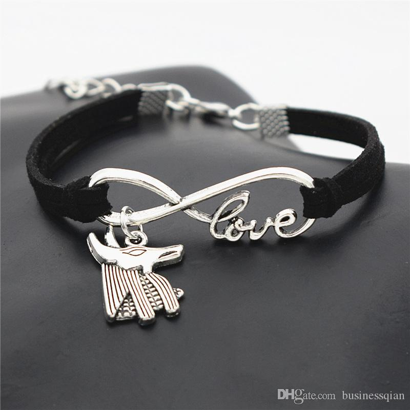 New Fashion Antique Silver Ancient Egypt Patron Saint Horse Anubis Animal Wolf Head Pendant Infinity Love Charm Black Leather Suede Bracelet