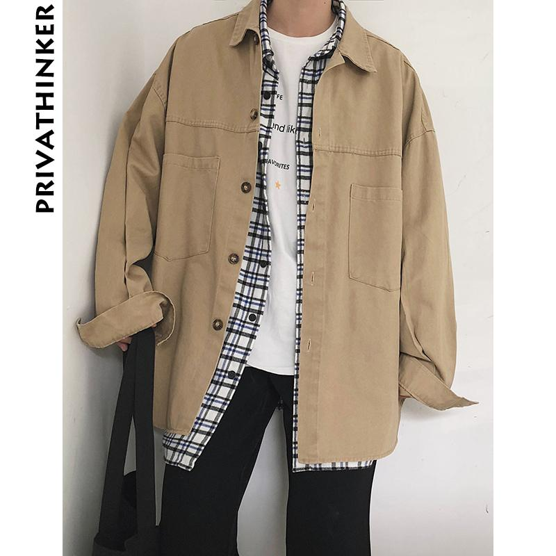 Privathinker Oversized Men Cargo Shirts Coat 2018 Mens Pockets Long Sleeve Retro Khaki Shirts Male Korean High Quality Jackets T2190601