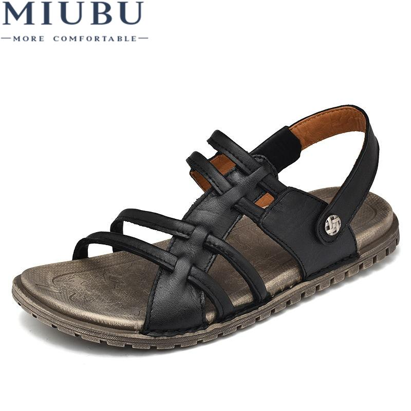 73ced91cd60d73 MIUBU Designer Slippers Casual Flat Mens Sandals Summer Outdoor Black Beach Shoes  Slides Toe Loop Men Soft Strap Leather Fashion Wedge Booties Saltwater ...