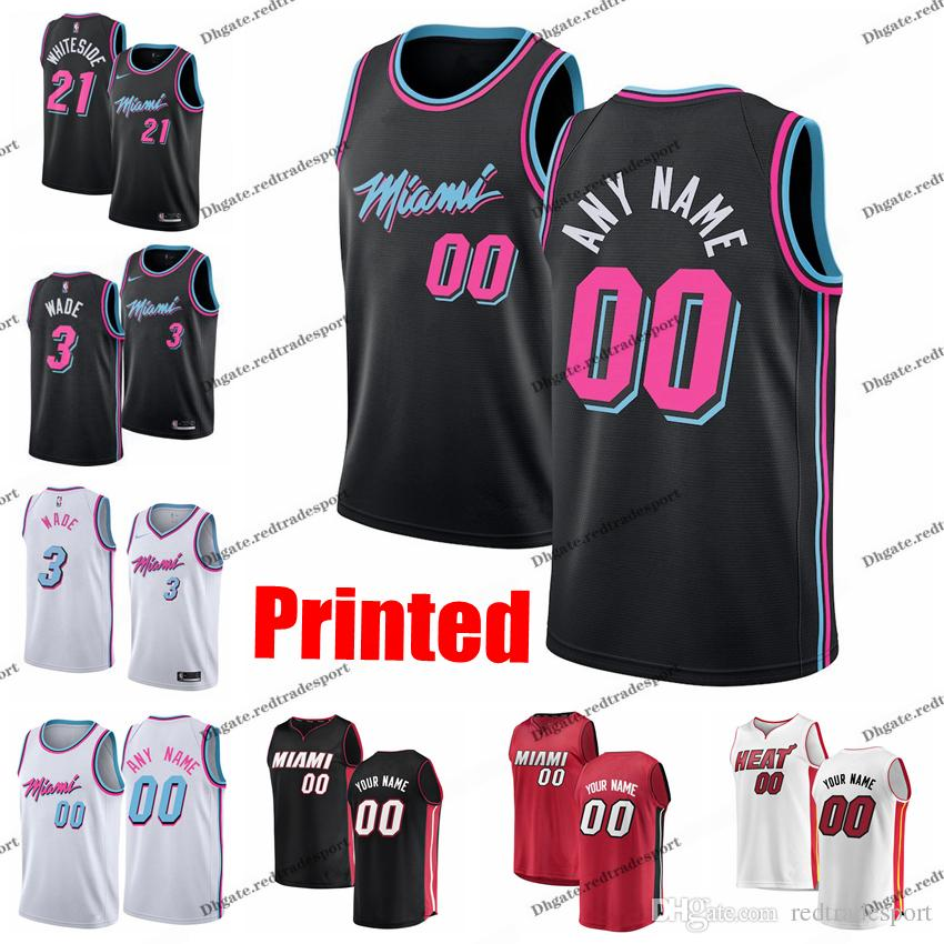 quality design 5909d b6872 Printed Miami City Heat Josh Richardson Dwyane Wade Goran Dragic Waiters  Hassan Whiteside Adebayo Jones Jr. Edition Basketball Jersey
