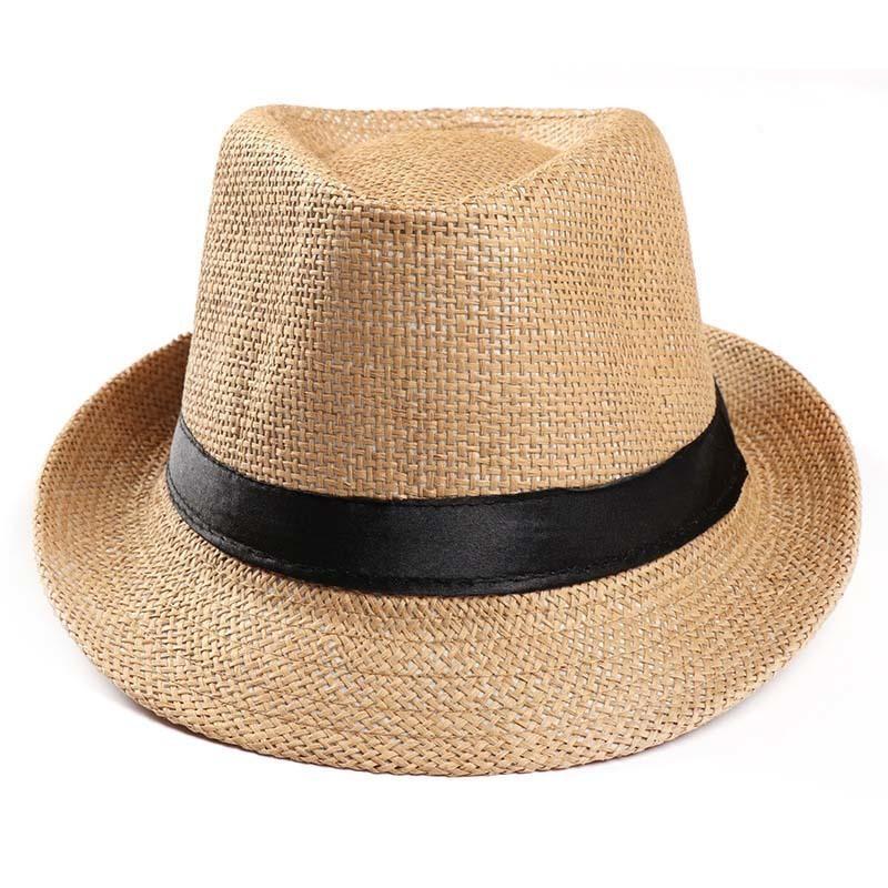 63cd2e15a081c Fashion Summer Straw Men S Sun Hat Fedora Cap Summer Beach Gangster Cap  Panama Hat Travel Jazz Caps Cowboy Caps D19011106 Kids Hats Wide Brim Hat  From ...