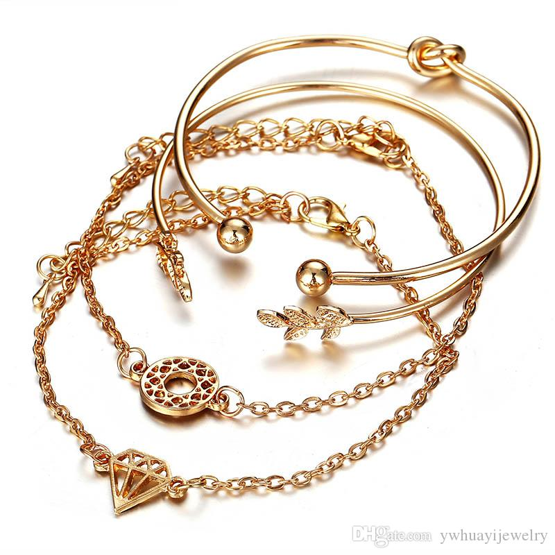 European and American jewelry fashion personality tree leaves Crown open bracelet gold four-piece women's jewelry wholesale