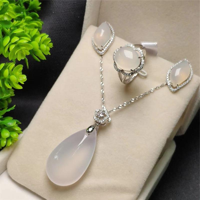 3pcs 925 Sterling Silver Natural New White Jade Gemstone Pendant Necklace Bracelet Earrings Women Jewelry Set