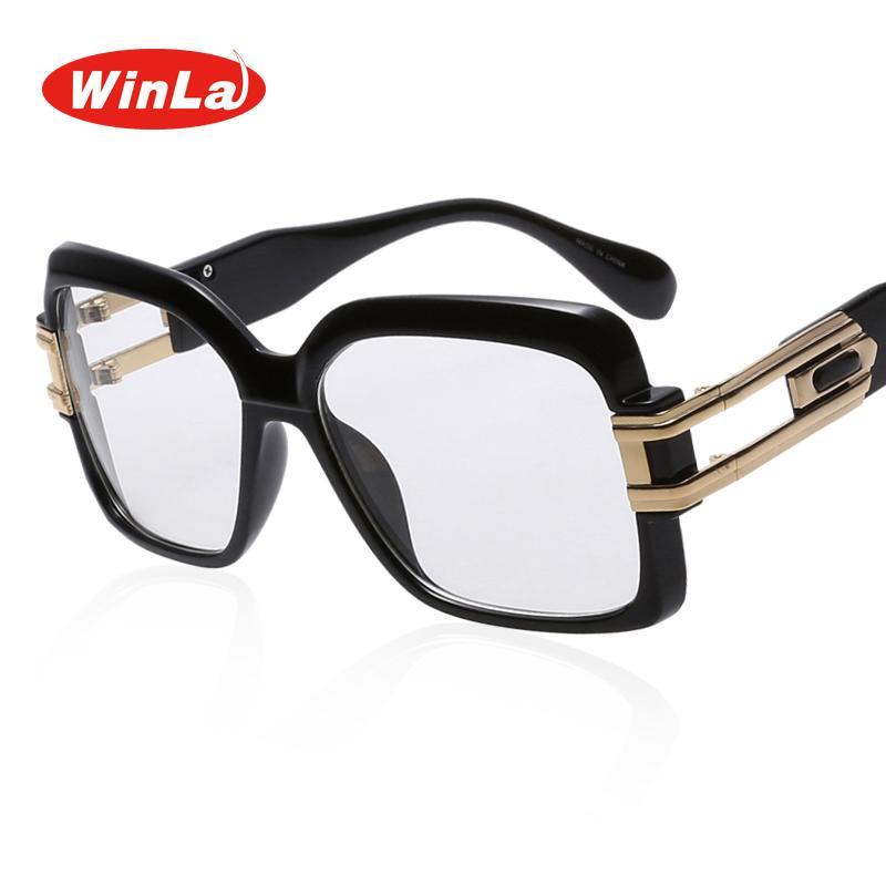 36b3fe1489 Winla Eyeglasses Women Square Big Frame Fashion Designer Optical Glasses  Unisex Plain Eyeglass Frame for Women Men Oculos WL9018