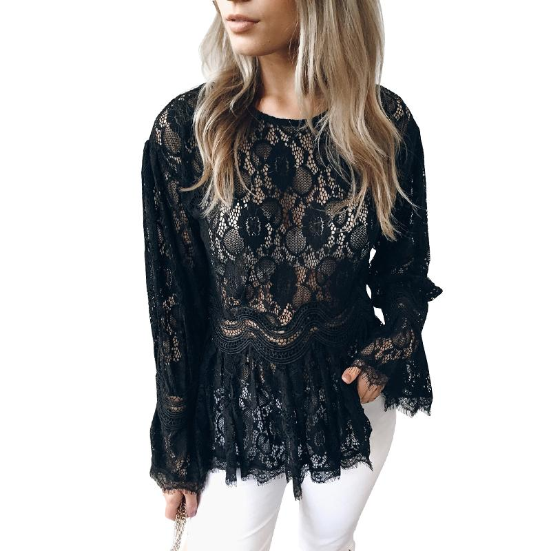 fb692dfe42 Sexy Women Semi-sheer Lace Blouse Elegant Ladies Flare Long Sleeve O-Neck  Slim Fit Tunic Top Pleated Hem Elegant Shirt Tops 2019
