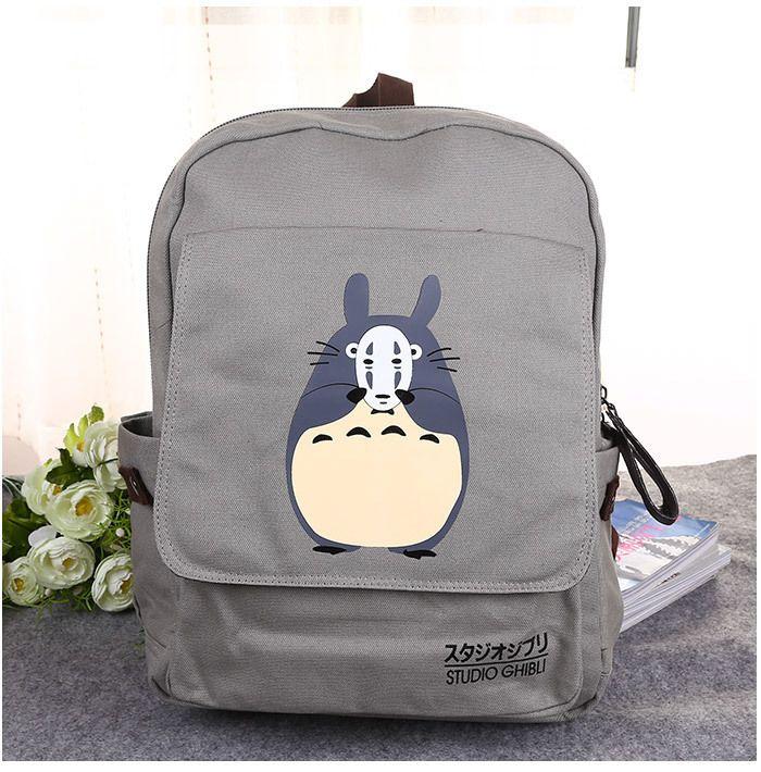 5ae6a1562bea Japan Anime Miyazaki Totoro Spirited Away No Face Zipper Cute Canvas  Cartoon Adult Double Belt Backpack School Bag Boys Backpacks Hydration  Backpack From ...