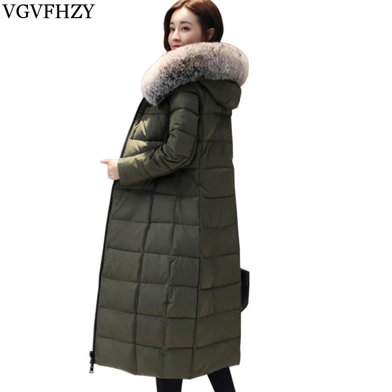 7b24f832496 2018 New Winter Women 's Warm Down Coat Long High quality Brand White Duck  Down ladies Jacket Plus size Female parka for women
