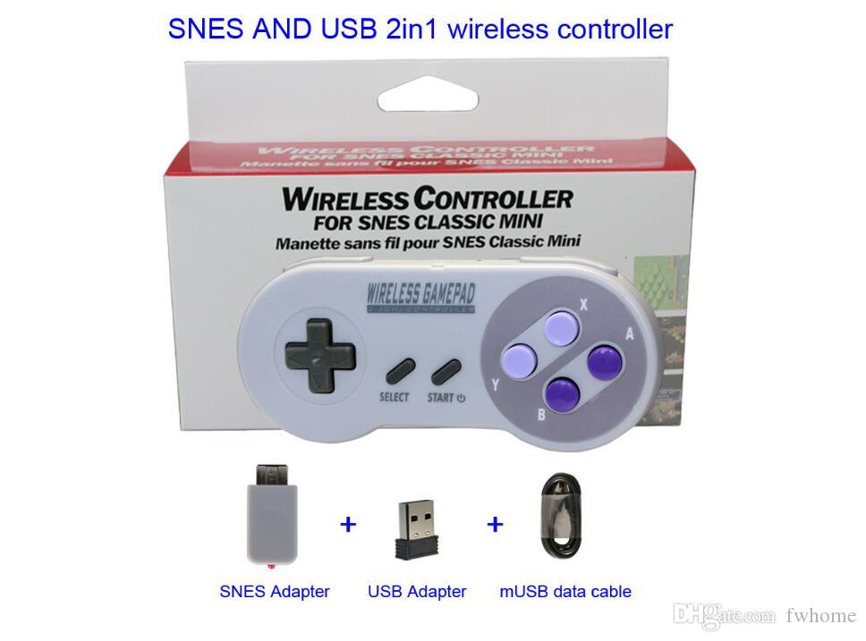 Hot 2 in 1 2.4G Wireless Gamepad Smart Phone USB Game Controller TV Box Wired Joystick For Snes Android IOS Windows PC