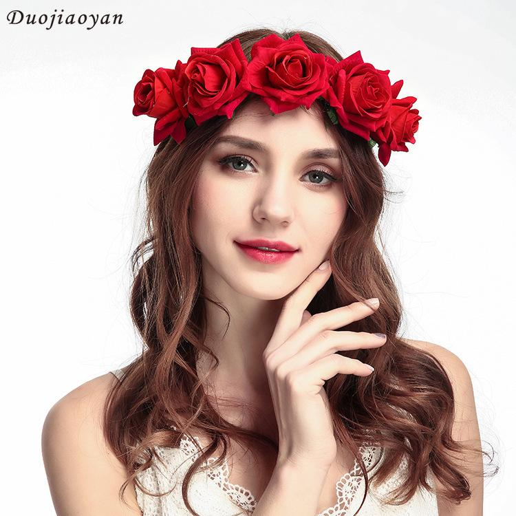 2019 Beautiful New Pattern Velvet Simulation Rose Flower Garland Hair Hoop  Seaside On Vacation Tourism Photography Accessories Goods In Stock From  Lzh1 c553874fad9