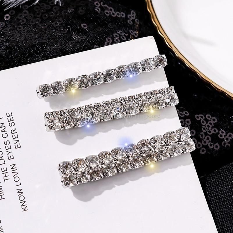 3Pcs/Set Women Hairpins Hair Clips Rhinestone Diamonds Bobby Pins Side Clips Barrettes Headwear Hairgrip Fashion Hairclip Headdress Jewelry
