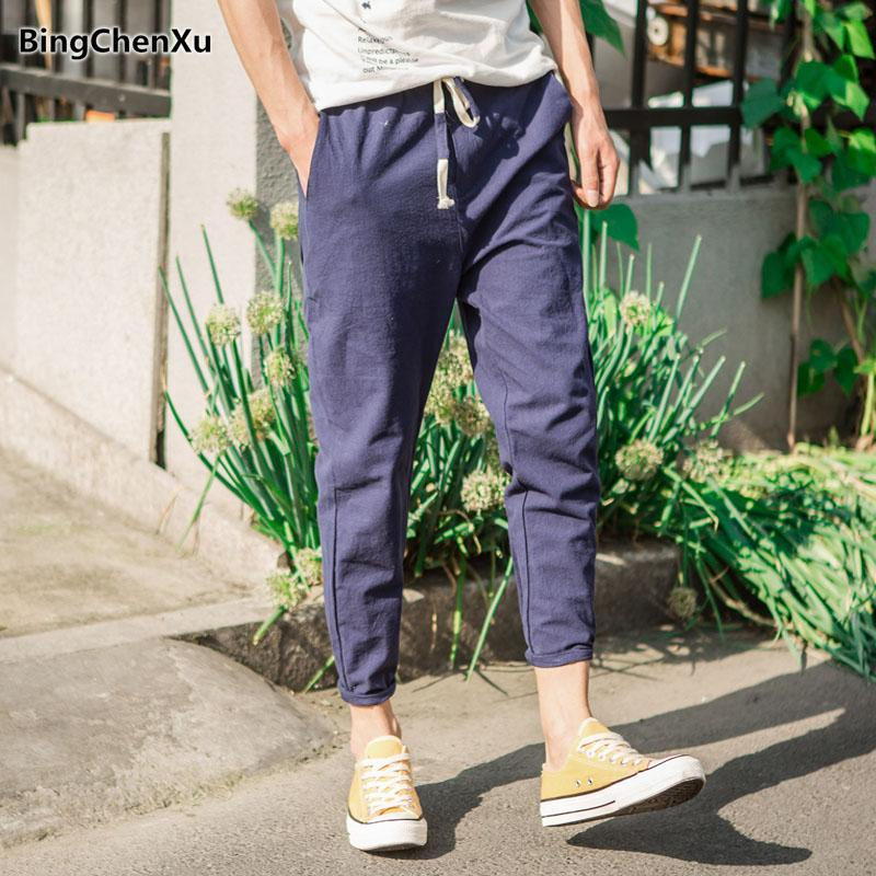 531392a3ad43 2019 Bingchenxu Mens Linen Pants 2018 Summer Linen Casual Pants Men  Breathable Thin Flax Trousers Joggers Sweatpants Cotton 783 From Yolkice