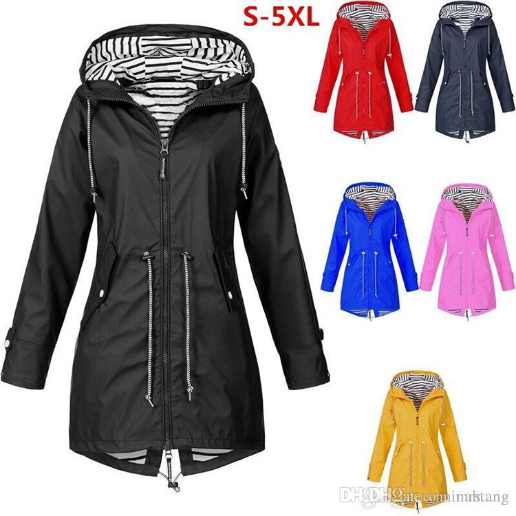 Long Rain Coat Outdoor Jackets With Pocket Women Waterproof Solid Color Plus Size Fashion Windproof Hooded Raincoat Hot Sale