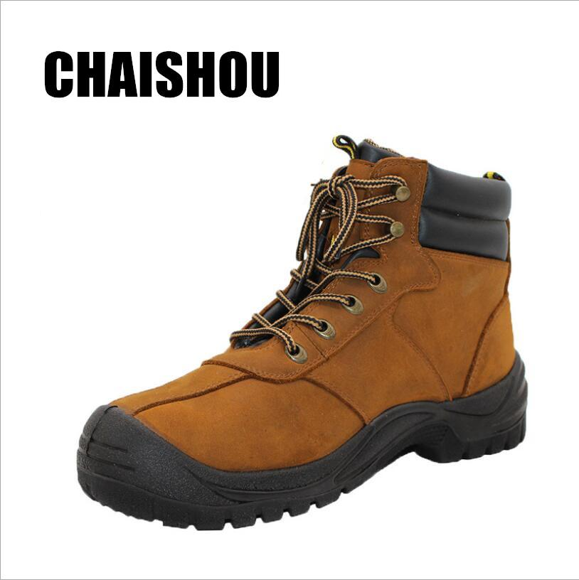 726a04a25fa men Work boots Genuine Leather Safety Shoes Steel toe cap Anti-smashing  anti-piercing Multifunction Protection Footwear CS-371